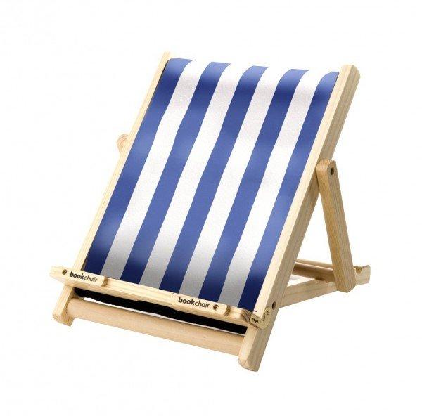Bookchair Standard Blau-Weiß gestreift - Buchständer aus Holz
